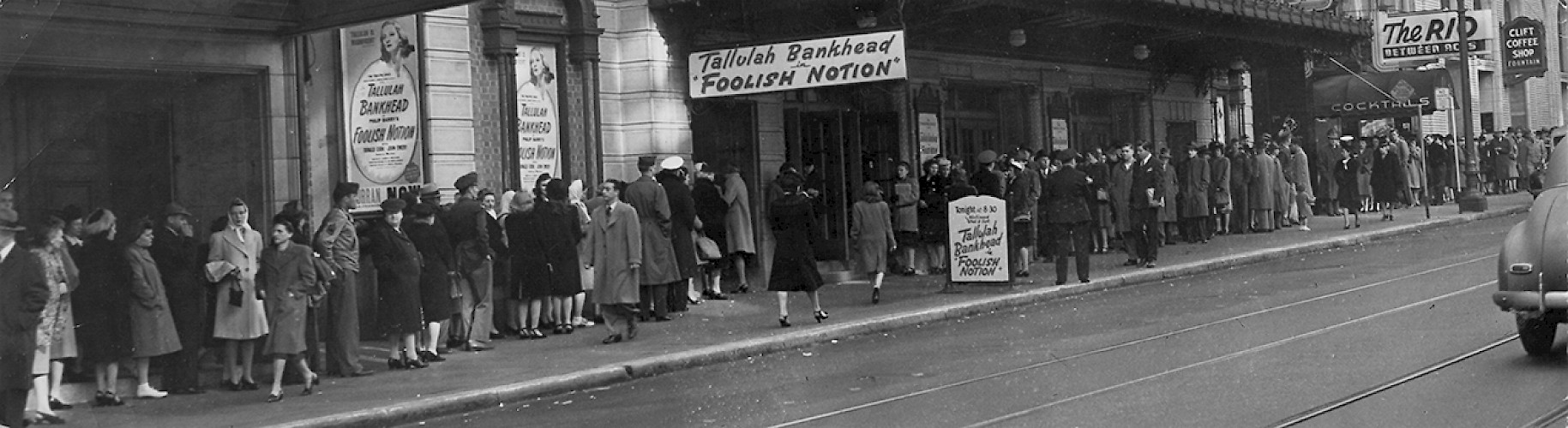 FOOLISH NOTION: The winter of 1946, there was an extremely tight turnaround of 1 day between Tallulah Bankhead's performance in FOOLISH NOTION and OKLAHOMA!. Despite having opened on Broadway three years earlier to overwhelming critical acclaim, this was the first time OKLAHOMA! had toured the West Coast. Throughout the three week run of FOOLISH NOTION, audiences anxiously waited in line for OKLAHOMA! tickets.