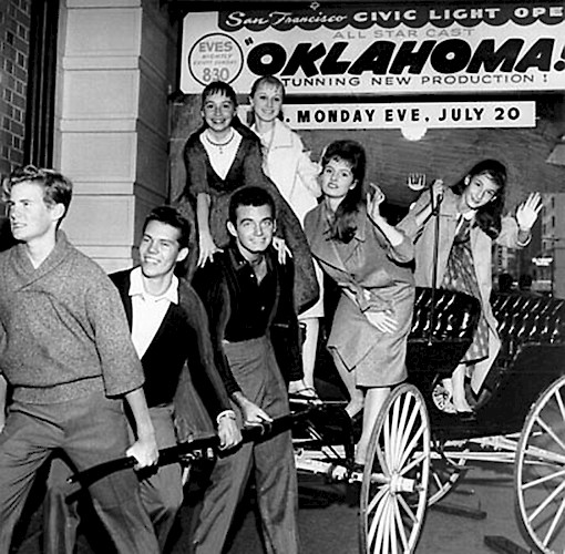 OKLAHOMA! at Curran: Chorus members in OKLAHOMA! pose outside the theater before a 1959 performance.