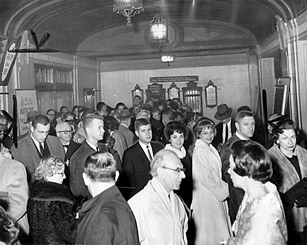 The Lobby buzzes with excitement as eager patrons rush to their seats for the second performance of the hit stage-thriller PRESCRIPTION: MURDER starring Agnes Moorehead, Tommy Mitchell,  Patricia Medina, and Joe Cotton. January 16, 1962.