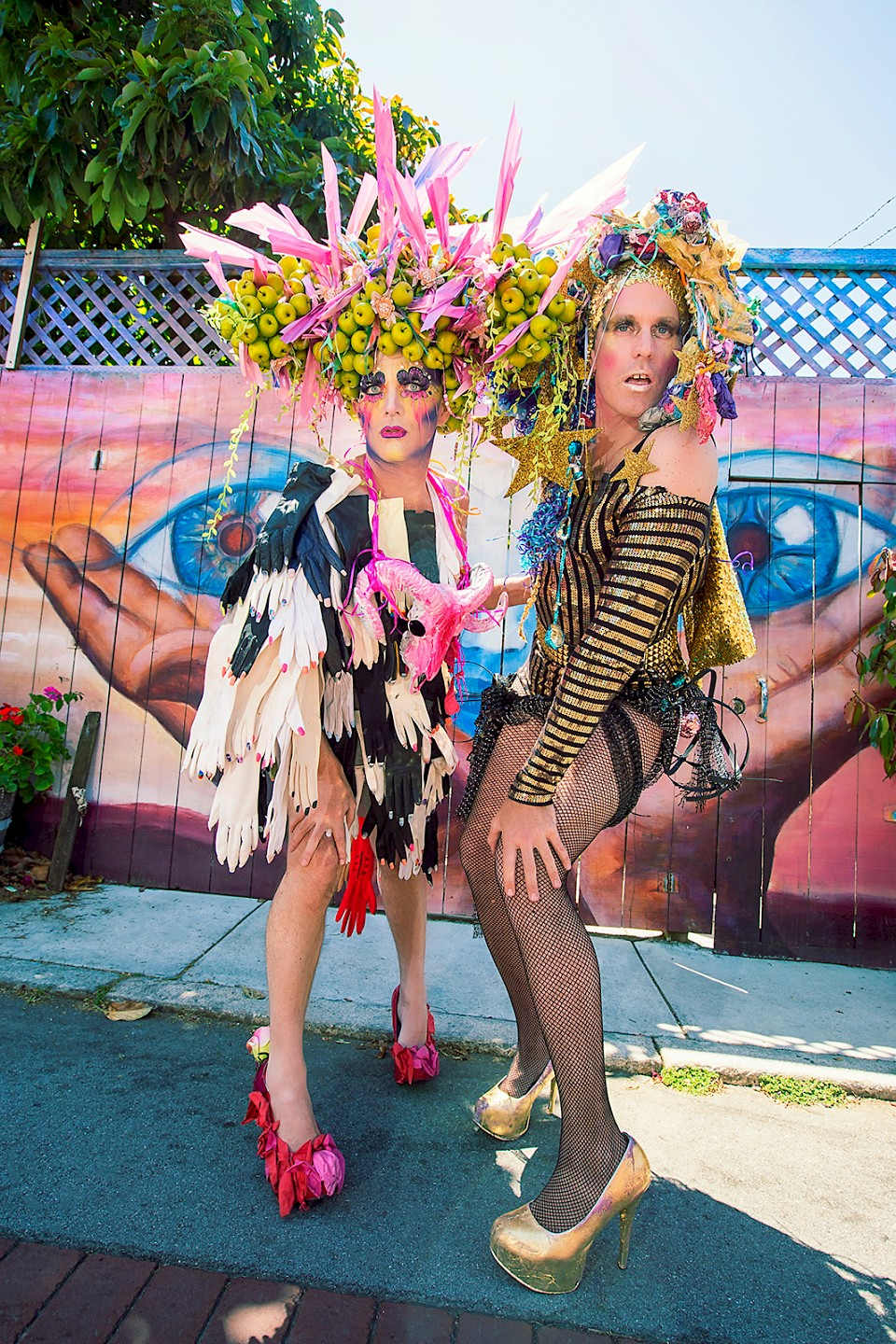 Taylor Mac and Machine Dazzle pose in Balmy Alley, SF. Photo by Little Fang Photography