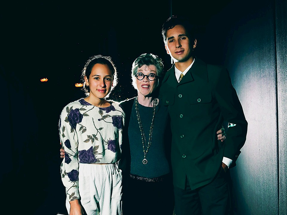 Carole Shorenstein Hays with student reporters Luna Alcorcha and Liam Idilio. Photo by Little Fang Photography