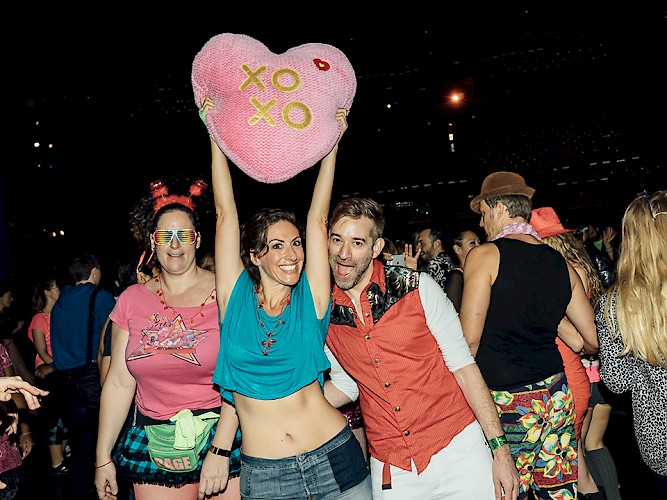 Everyone was feeling the love, with a pink plush heart volleying around the crowd throughout the party. Photo by Daybreaker's Daniel Lee