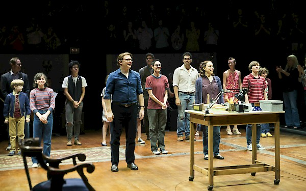 The FUN HOME cast takes their final bows on closing night.